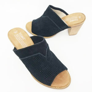 Toms Womens Majmul Black Suede Perforated Slip On